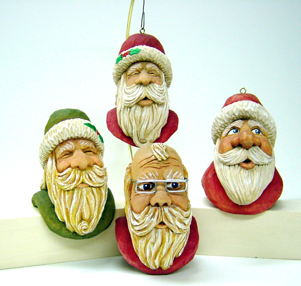 Santa Ornaments carving rough out by Dale Green