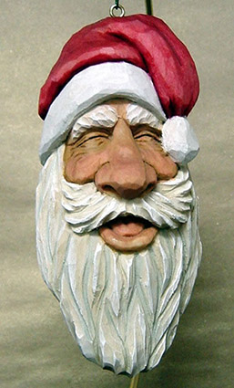 Laughing Santa carving rough out by Dale Green